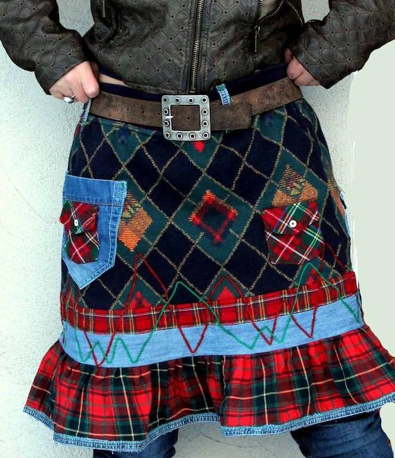 knee patchwork tartan and denim recycled skirt folk