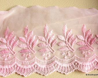 Pink Scallop Net Lace Embroidery Lace Trim 10 cm wide - 041203L18