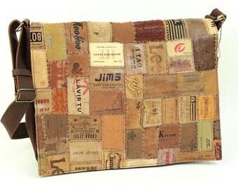 Messenger bag, laptop bag, rocker bag, leather bag, vintage leather bag, recycled bag made of recycled designer jeans labels