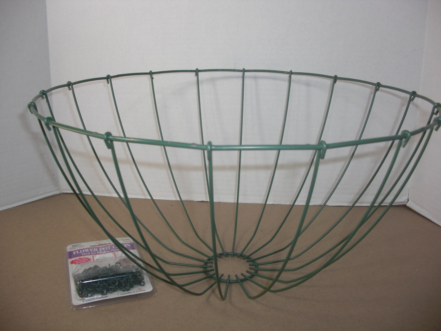 Metal Flower Hanging Baskets : Hanging plant container wire basket w chain green metal
