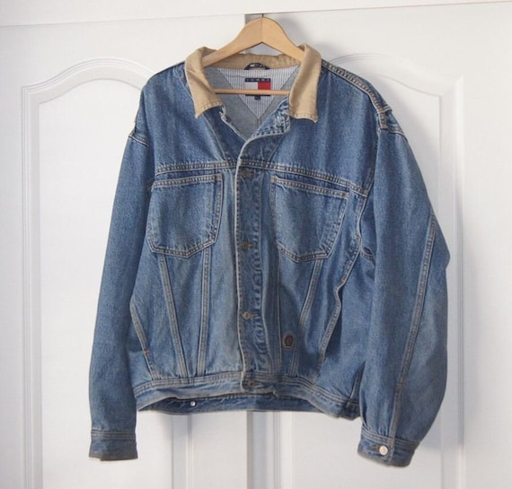 vintage manteau veste en jean de tommy hilfiger denim xl 80 s. Black Bedroom Furniture Sets. Home Design Ideas