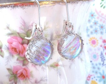 Glass Earrings, Dichroic Iridescent Glass Earrings on Sterling Silver Leverback Hooks