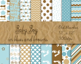 Baby Boy Digital Paper in Blues and Browns - Digital Paper Pack - 16 Designs - 12in x 12in - Commercial Use - INSTANT DOWNLOAD
