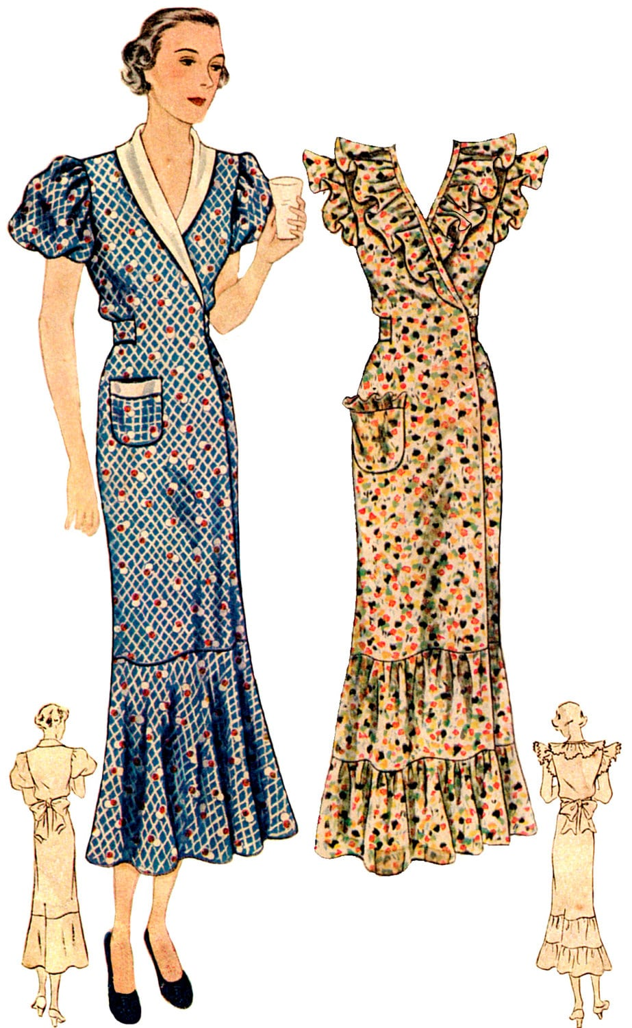 1930s Ladies Hooverette Day Dress Reproduction Sewing