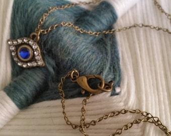 """Evil Eye Protection Brass 18"""" Necklace"""