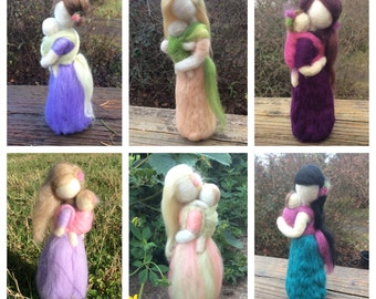 Custom Needle Felted Babywearing Mother and Baby You choose colors and details for hair, wrap and clothing