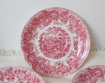 Alfred MEAKIN Saucer The Courtship English red Transferware china plate Cottage Tea time romantic coffee table decoration or gift idea