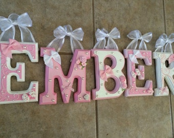 """CUSTOM - 6"""" Grey and Pink Nursery Theme - Beveled Wooden Hanging Wall Letters for Nursery or Child's Bedroom"""