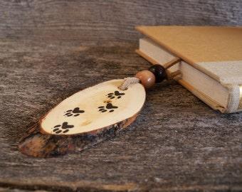 Wooden Bookmark with Dog Tracks / Handmade Bookmark with Animal Tracks / Rustic Bookmark / Dog Bookmark /Dog Lover Gift / Animal Bookmark.