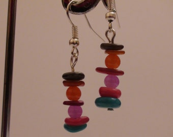Handmade earrings.Dangle earrings.Gemstone earrings.Womens jewelry.Multicolored earrings.