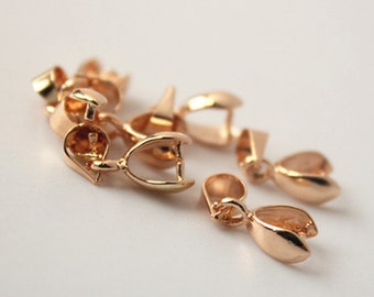 20pcs Gold Pinch Bails Pendant Clasps on Brass, 5mm Jewelry Findings