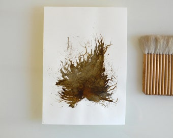 Original fine art abstract painting on paper-Leaf ,nature,tree,modern art, abstract ink art by Cristina Ripper