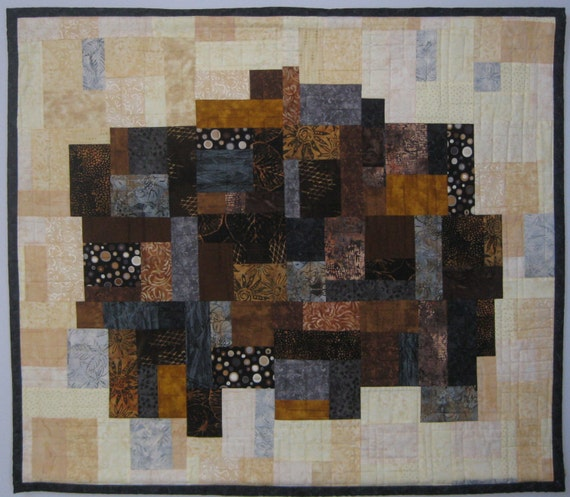 Art Quilt Mosaic Brown Black Grey, Quilted Wall Hanging