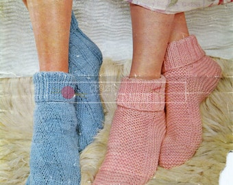 Bed Socks DK Sizes Adjustable Lee Target 6307 Vintage Knitting Pattern PDF instant download