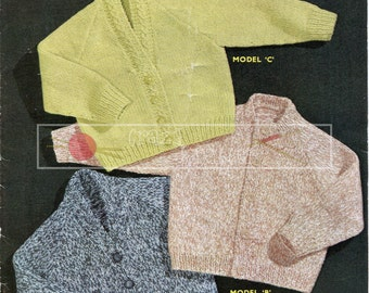 Boy's and Girl's Cardigans DK 2-6 years Vintage Knitting Pattern PDF instant download