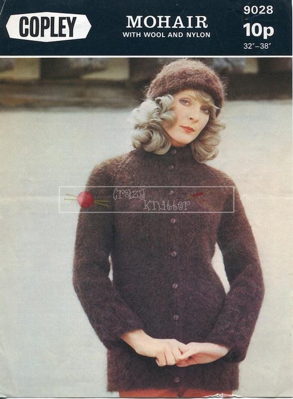 Lady's Tie-Belt Coat & Hat Mohair 32-38in Copley 9028 Vintage Knitting Pattern PDF instant download