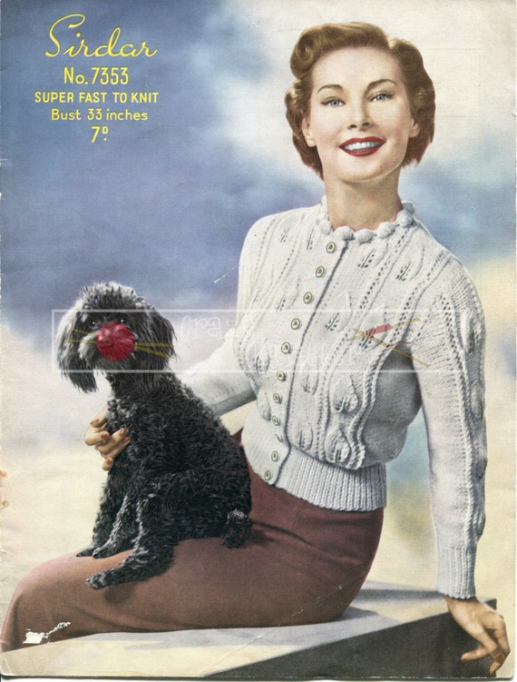 Lady's Jumper Cardigan Aran 33ins Sirdar 7353 Vintage Knitting Pattern PDF instant download