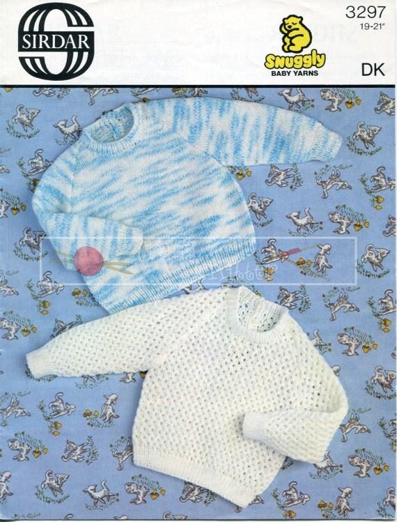 Baby Sweater DK 19-21ins Sirdar 3297 Vintage Knitting Pattern PDF instant download