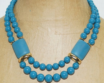"""Teal Blue Green Lucite Beads Bib Two Strands Nested Waterfall 19"""" Necklace"""