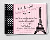 Paris Birthday Party Invitation - Paris Themed Birthday - Digital Design or Printed Invitations - FREE SHIPPING