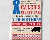 County Fair Birthday Invitation - Summer County Fair Themed Party - Digital Design or Printed Invitations - FREE SHIPPING