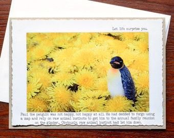 Blank Greeting Card: Penguin-Let Life Surprise You.