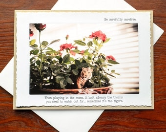 Blank Greeting Card: Tiger in the Roses