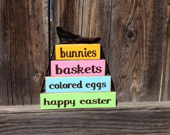 Easter wood mini stacker blocks-bunnies baskets colored eggs happy easter