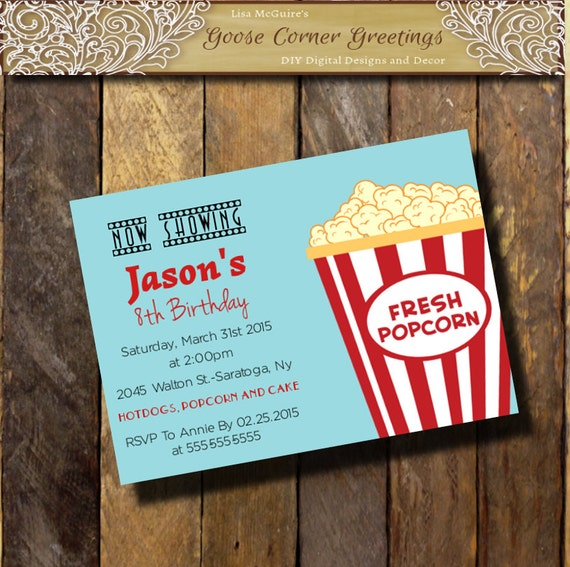 Movie night kids birthday invitation popcorn invitationsbaby il570xn filmwisefo