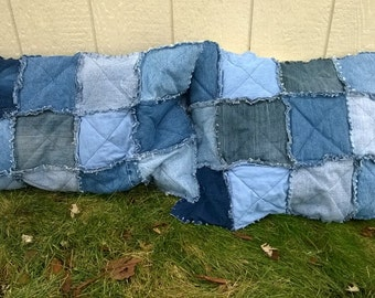Rag Style Denim Patchwork Pillow Shams - Upcycled Jean Shams with Envelope Closure - Repurposed Denim Bedding