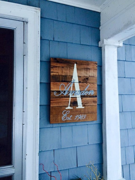 monogrammed recycled barn wood sign with personalized