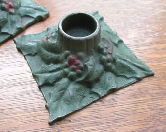 Christmas candle holders - 1920's Cast Iron Holly Candle Holders
