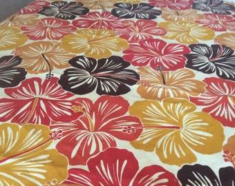 Rectangular Indoor/Outdoor Hibiscus red and dark yellow tablecloth 54x84