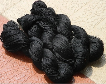 Silk & Wool Blend Yarn - Black Color - 200 Grams - 2 Skeins