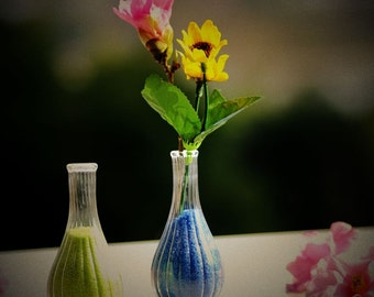 Creative Long Necked Striped Transparent Glass Vase-Very Small, Very Cute-2 Pcs