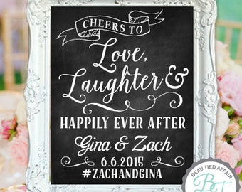 "Wedding Chalkboard- ""Love, Laughter & Happily Ever After"" with Couple's Names, Wedding Date and Wedding # Hashtag"