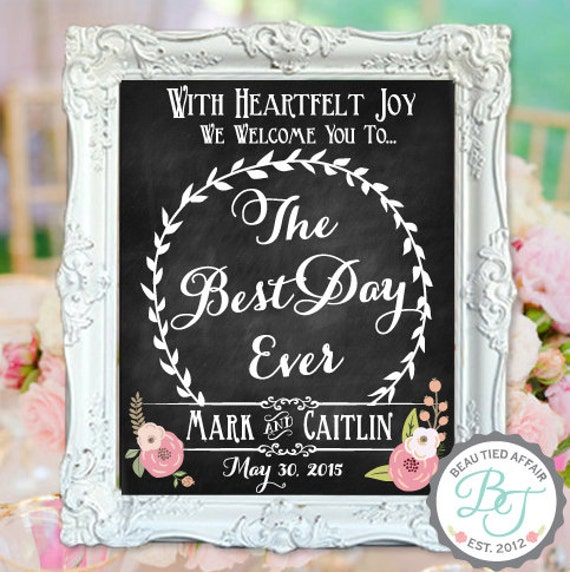 Best Time Of Day For Wedding: Wedding Chalkboard Sign The Best Day Ever Welcome To Our