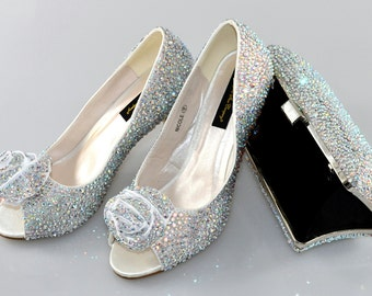 Swarovski AB multi Crystal Glitter Bridal Wedding Low Heel Peeptoe Ivory Satin Pump with Pillow Rectangle Clutch Bag Purse Set