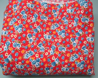 Antique Cotton 31 inch Vintage 1920s Fabric Quilting Sewing red Calico HALF YARD