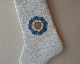 Hand Made Appliqued and Quilted Heirloom Christmas Stocking Felted Wool & Cotton