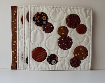 Handmade Snack Mats Cotton Chocolate Bubbles Quilted Placemats