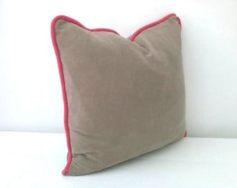 "Terry Taupe Throw Pillow with Coral Piping 18"" by 18"", Beige Cushion, Modern Home Decor"
