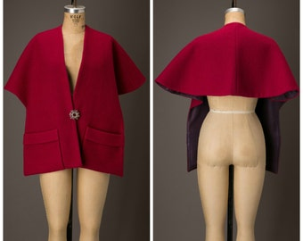 Magenta Wool Cape with Pockets