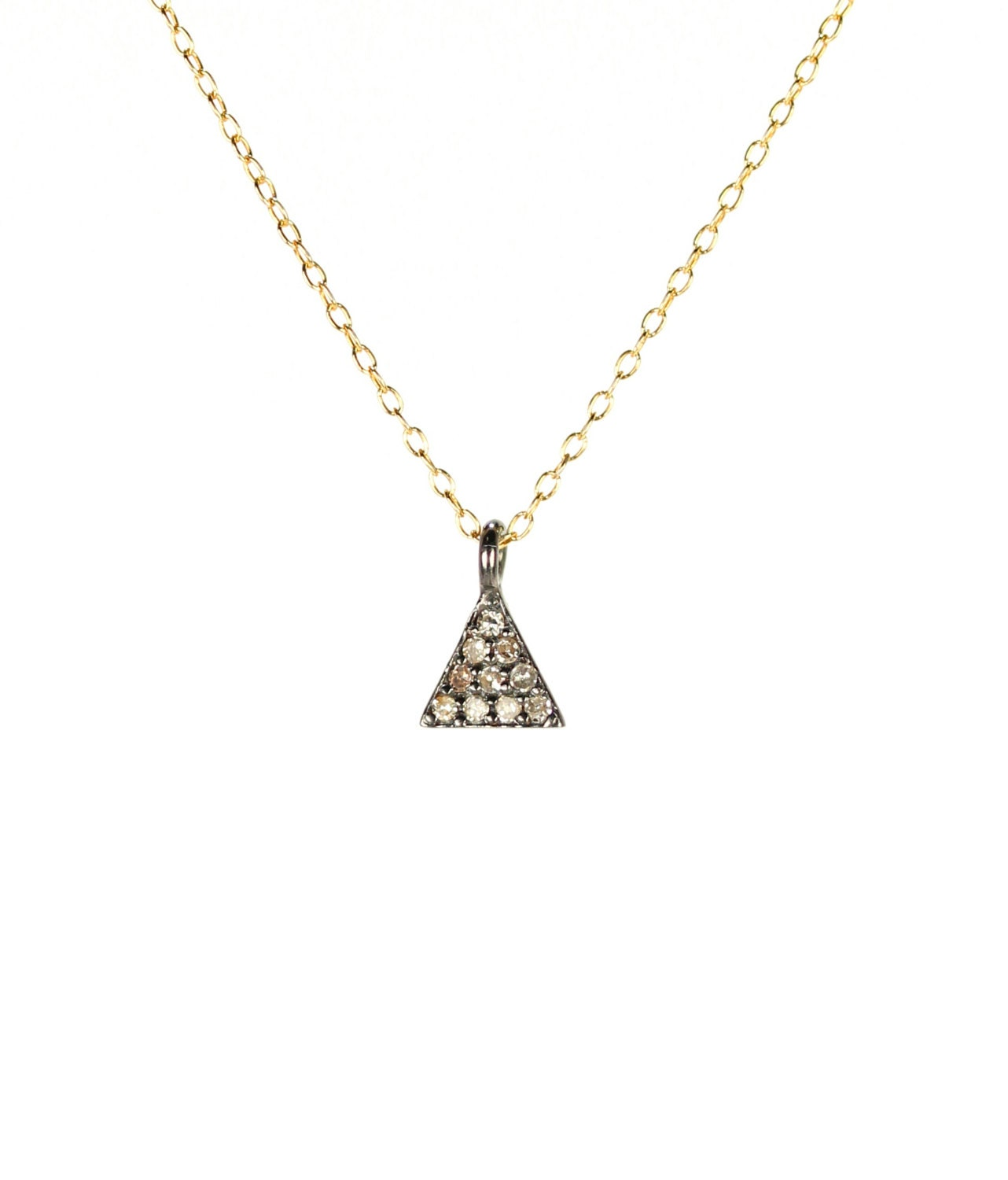 Triangle necklace pave diamond necklace diamond triangle triangle necklace pave diamond necklace diamond triangle diamond pendant a tiny diamond triangle charm on 14k gold filled chain mozeypictures Image collections