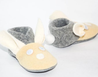 Bunny Baby Shoes, Kids Bunny Slippers, Easter Bunny Shoes, Wool Bunny Shoes.