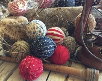 Primitive americana fabric rag balls set of 8 red white blue stars stripes prim decor