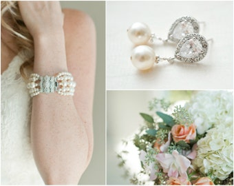 Pearl Wedding Jewelry SET, Pearl Jewellery SET, Bridal Jewelry SET, Bridal Earring and Bracelet Set