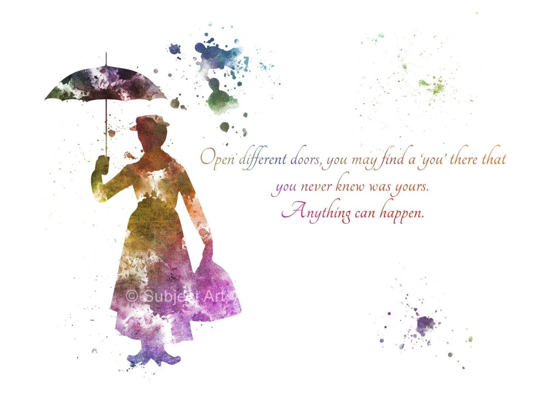 ART PRINT Mary Poppins Quote Illustration Disney Home Decor