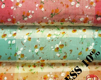 "Cotton fabric, Floral Fabric, Summer Flower Fabric - 1/2 Yard 18"" x 57"" (ST027CF)"