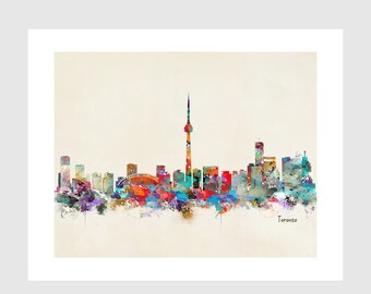Toronto Ontario skyline .colorful pop art skylines.Gallery fine art prints .city skylines for home decor.color your world